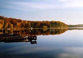 Dam Lake, approximately 744 acres for fishing, boating, swimming and relaxing.